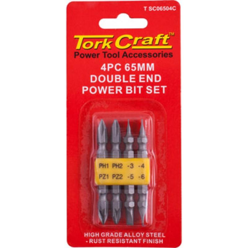 4 Piece 65mm Double End Power bit Set