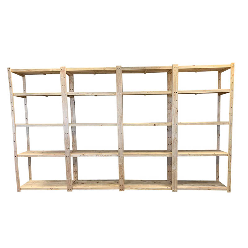 4 x Bay Wooden Bolted Shelving Unit